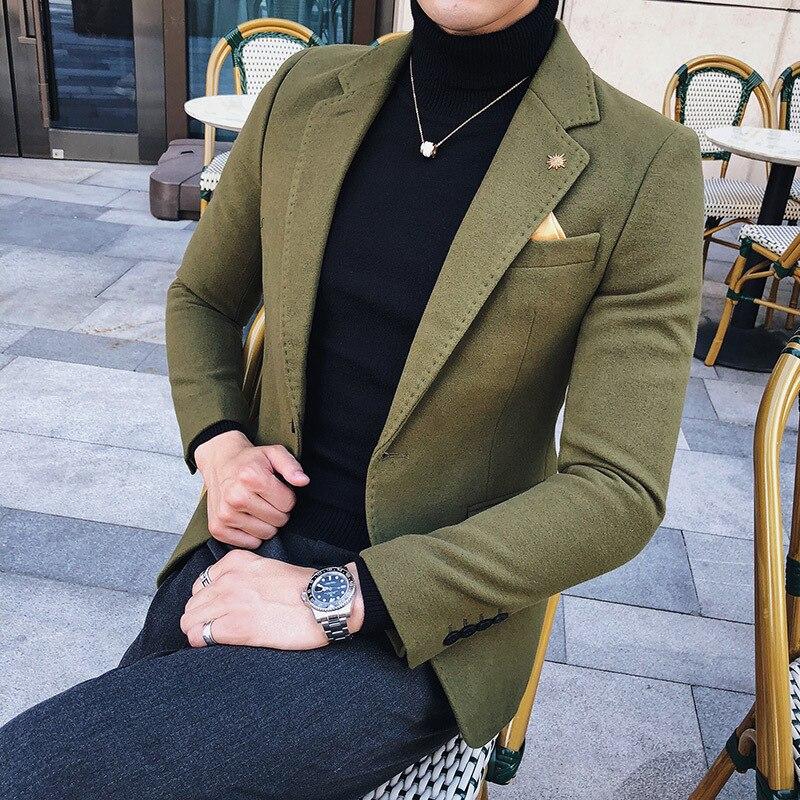 3 מוצק ירוק בלייזר גברים שחור חאקי צמר תערובת בלייזר גברים סתיו חורף 2018 כפתור אחד בלייזר Homme חליפת מעיל גברים