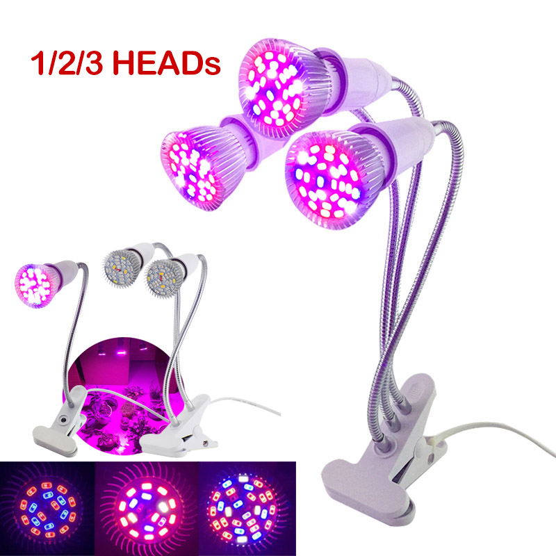 18/28 LED 3 HEAD Plant Grow Light Seeds Lamps Indoor Full Spectrum Growbox Tent Room Phyto Lamp Veg Cultivo Growing Greenhouse