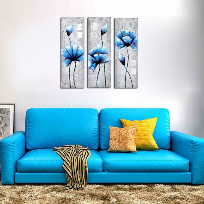 3 Piece Hand Painted Brown Oil Paintings Canvas Wall Art ...