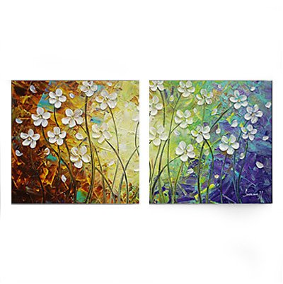 2 panels Hand Painted oil painting font b knife b font flower on Canvas Wall Art