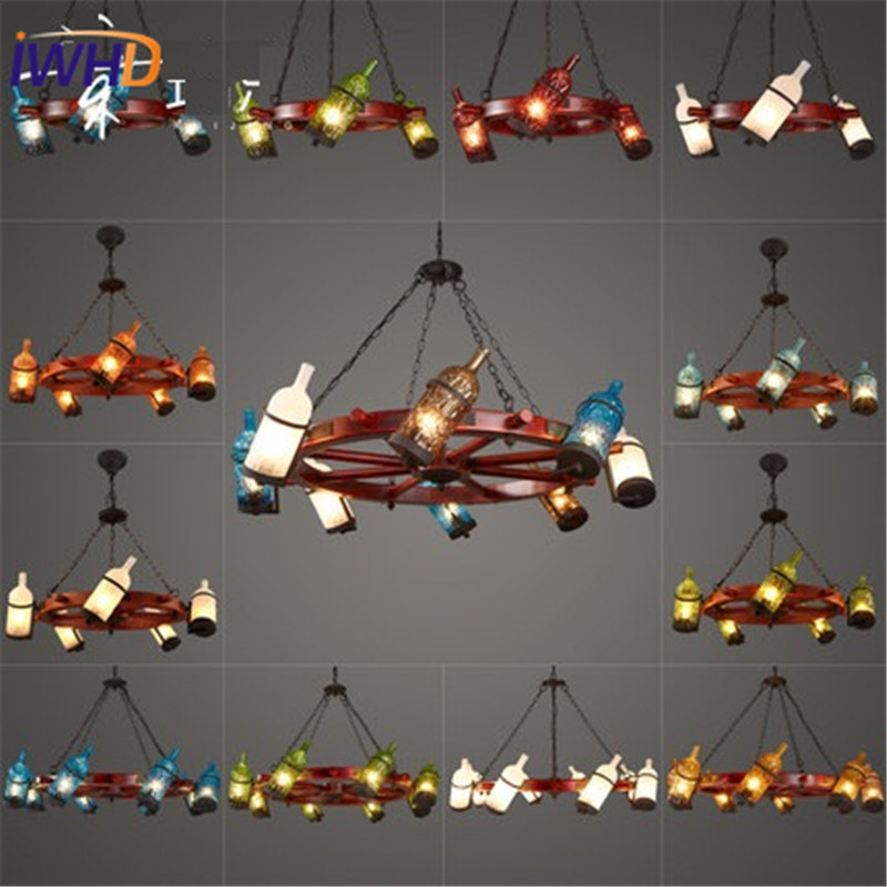 IWHD American Simple Glass Droplight Vintage Circular Wooden Ship LED Pendant Light Fixtures Colored Bott Hanging Lamp Lighting