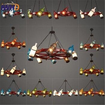 Iwhd Amerika Sederhana Kaca Droplight Vintage Melingkar Kayu Kapal LED Pendant Lampu Berwarna Bott Lampu Gantung Lampu