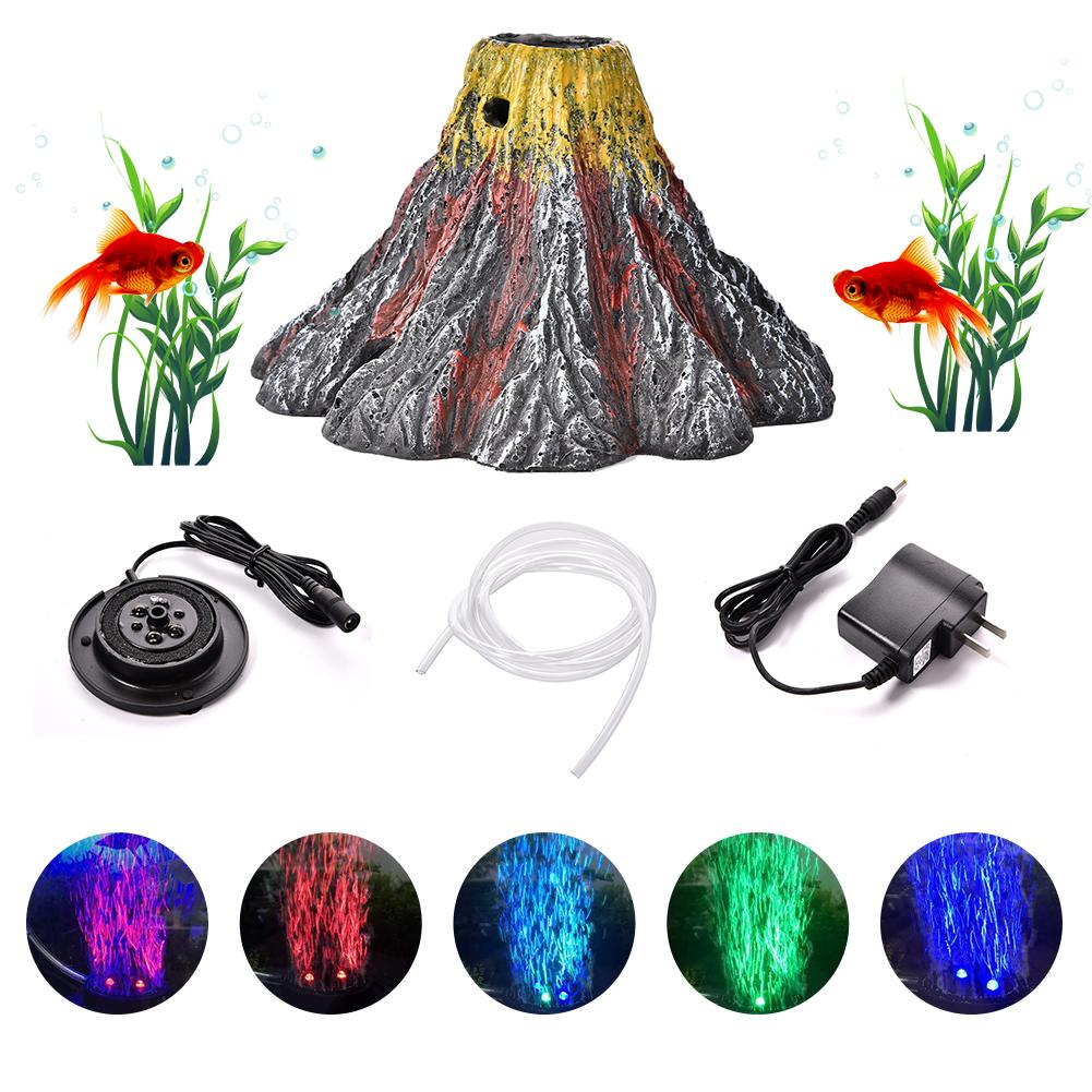 Aquarium Volcano Ornament Kit With Air Stone Bubbler Fish Tank Decorations With Oxygen Pump Air Drive Fish Tank Toy