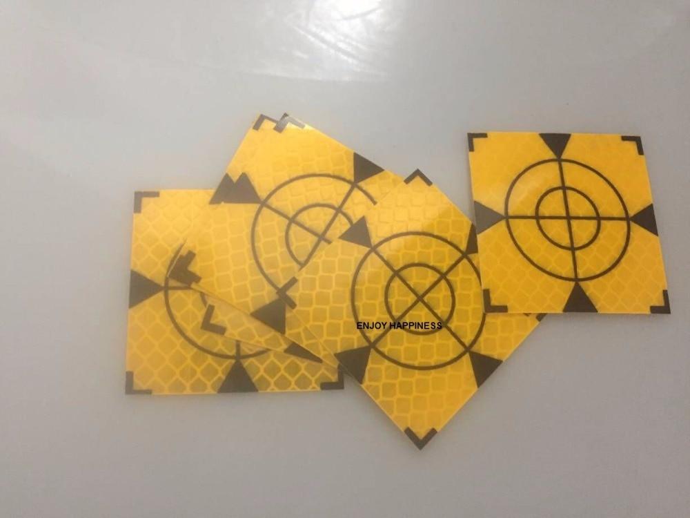 100pcs Yellow Reflector Sheet 50 x 50 mm Reflective Tape Target Total Station ...