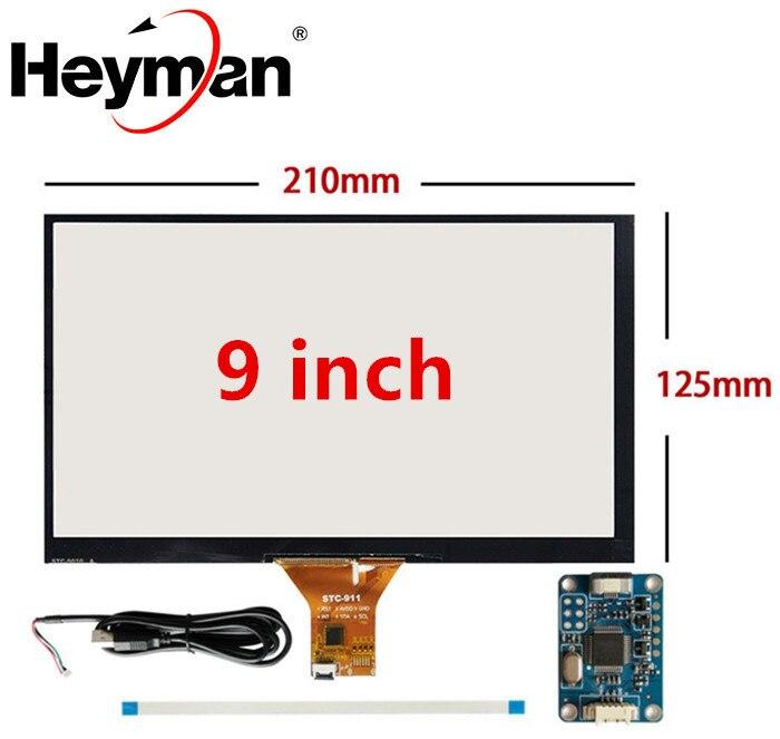 9 polegada 210mm * 125mm raspberry pi tablet pc navegação capacitiva toque digitador da tela do painel de vidro usb placa motorista