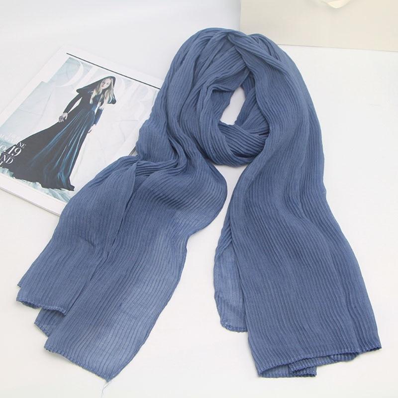Image 3 - Design quente inverno onda quente enrugado muçulmano envoltório  hijab lenço de algodão crinkle longo cachecóis macios hijab xale cape 25  coresCachecóis femininos