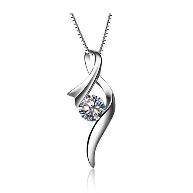 Promotion Pendant Luxury White Gold Plated Pendant 0.5ct Simulate Diamond Pendant Sterling Silver Ribbon Necklace Pendant Women