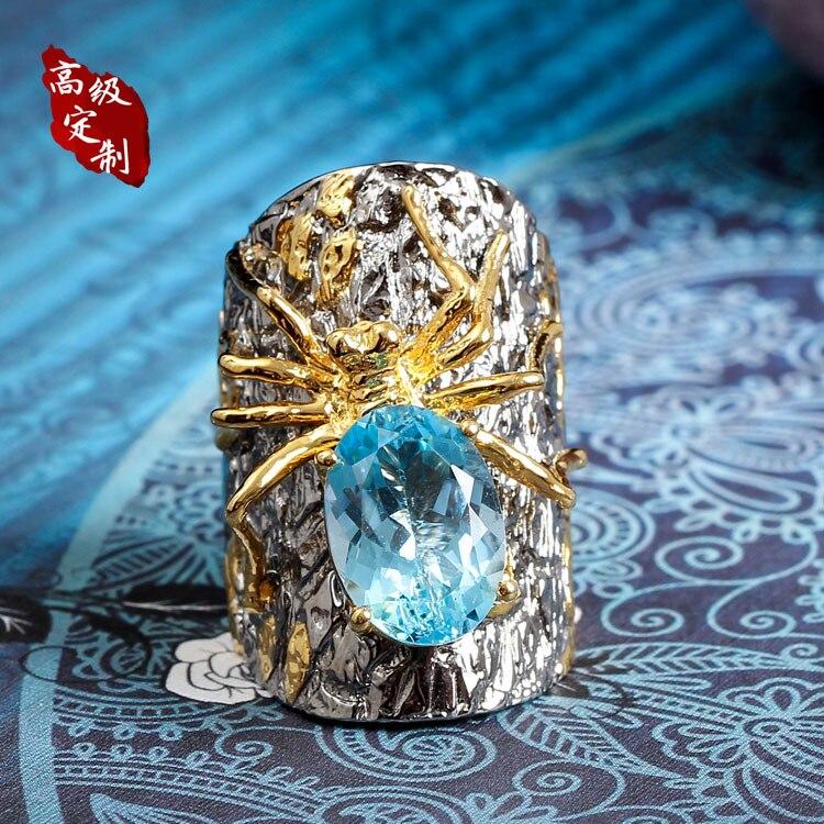 925 anel de prata aranha ordem Pérola enfeites de recursos de personalização do produto projeto original o projeto feito sob medida com a mão - 4