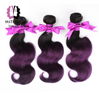 Mstoxic Hair Body Wave Brazilian Hair Weaving Bundles Remy Human Hair T1B Purple 10 24 Inches