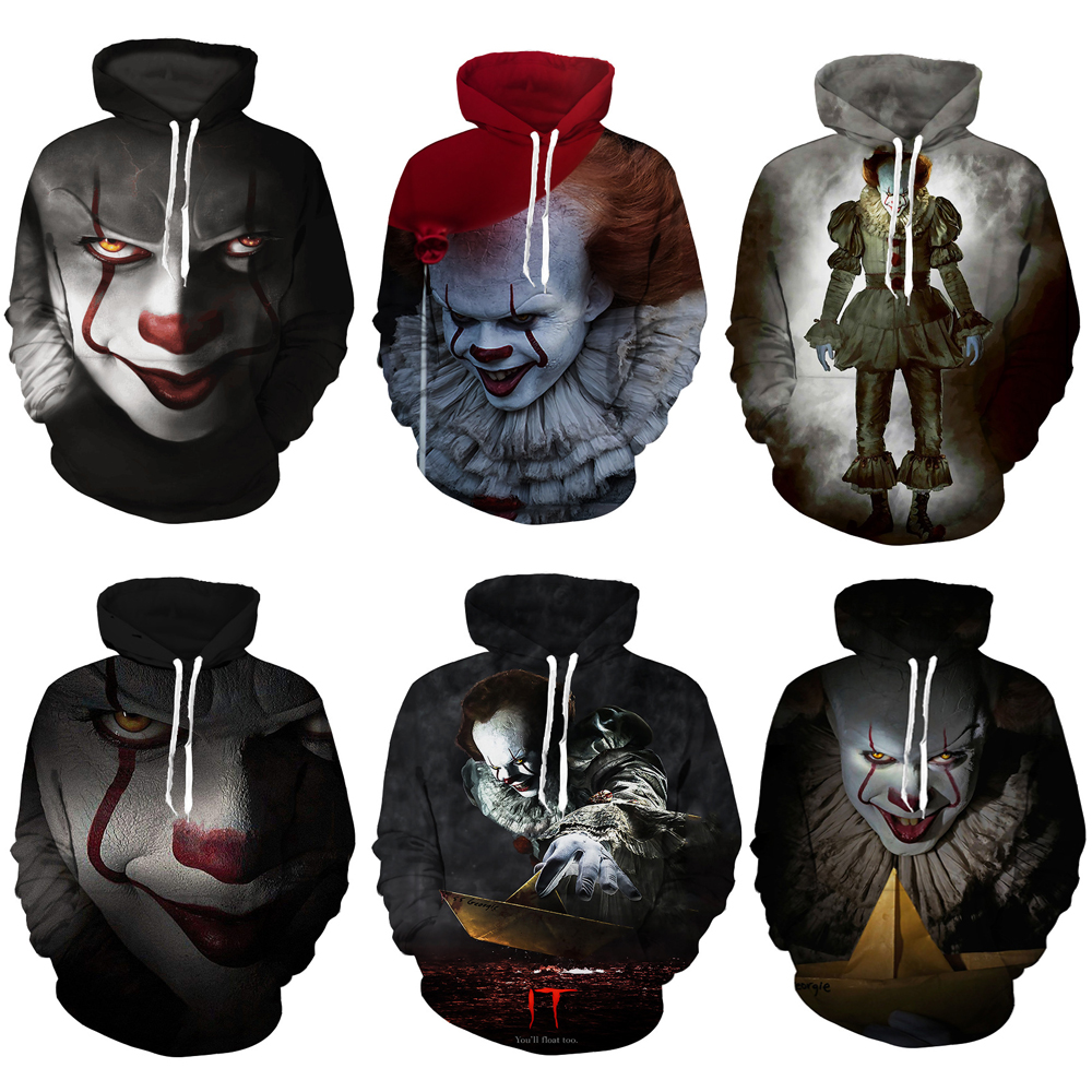 New Movie It Pennywise Clown Stephen King 3d Print Hoodies Horror Movie Hoodycosplay Tracksuit Sportswear Sweatshirt Men's Clothing