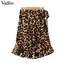 6125269f4b Vadim las mujeres con volantes de estampado de leopardo falda diseño  asimétrico corbata animal patrón femenino casual de la long.