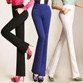 2016 nova primavera outono senhoras elegantes calças mulheres calças flare plus Size Casuais Calças de Cintura Alta Longa Escritório Desgaste do Trabalho C540