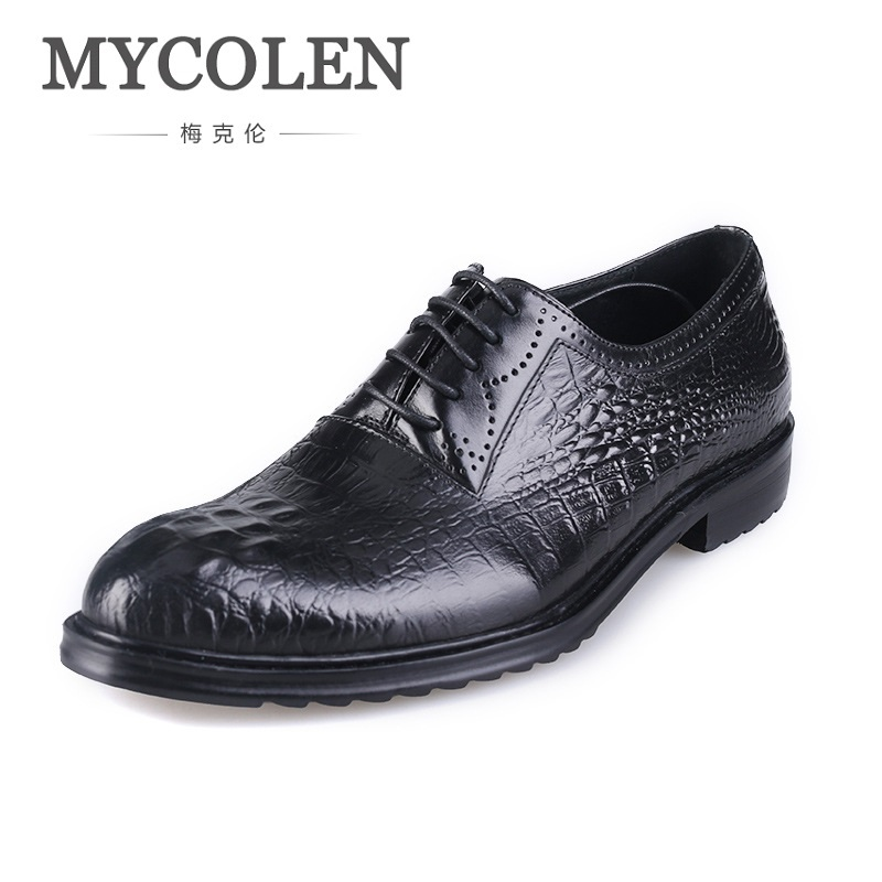 MYCOLEN Luxury Crocodile Pattern Genuine Leather Men Shoes Business Casual Dress Shoes Round Toe Formal Wedding Formal Shoes mycolen high quality crocodile skin genuine leather mens loafers formal wear shoes for suits business wedding shoes men