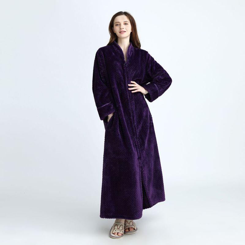 Winter Warm Front Zipper Pokect Kimono Bath Robe Dressing Gown Women Men  Extra Long Flannel Bathrobe-in Robes from Underwear   Sleepwears on  Aliexpress.com ... 9779bfa76