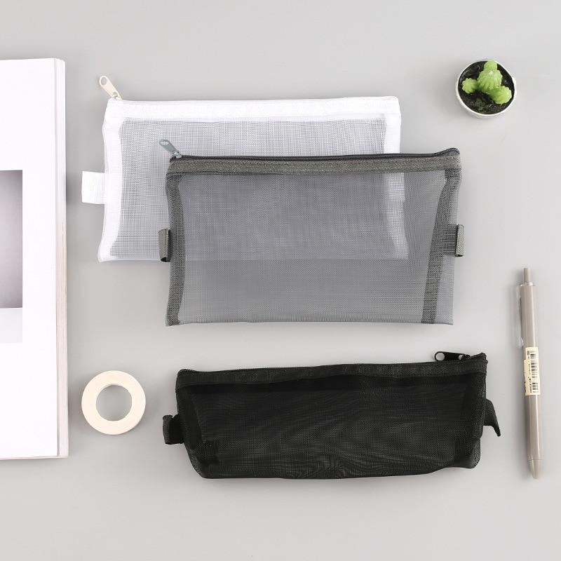 Nylon Large Transpraent Pencil Case Kawaii Clear Pencil Bag Big Black Mesh Pencil Cases For Girls Stationery School Supplies