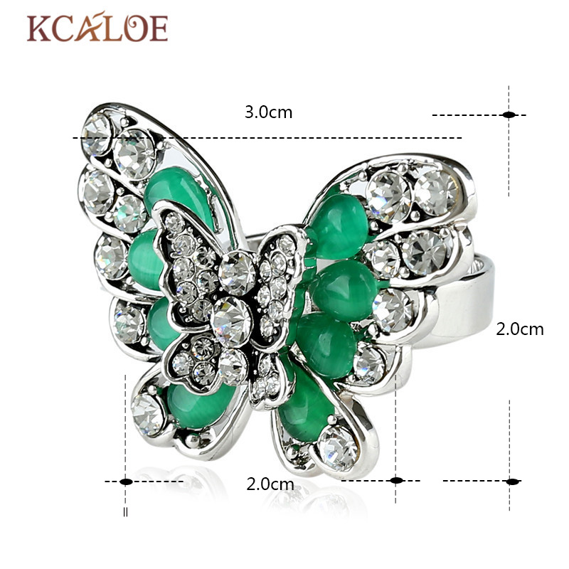 Aliexpress.com : Buy KCALOE Silver Color Big Butterfly Rings For ...