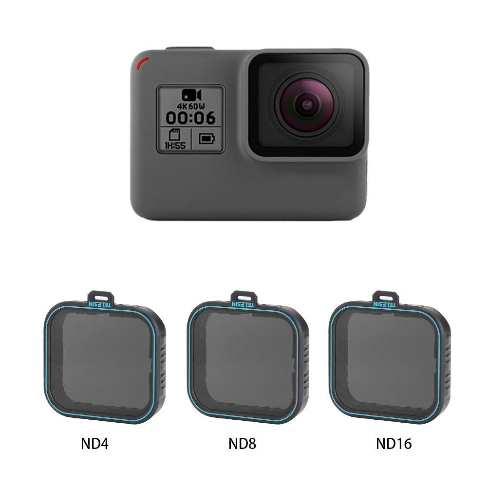 TELESIN 3 Pack ND Lens Protector Kit Set(ND4 ND8 ND16 ) Neutral Density Filter for Gopro Hero 5 Hero 6 Black Camera Accessoreis