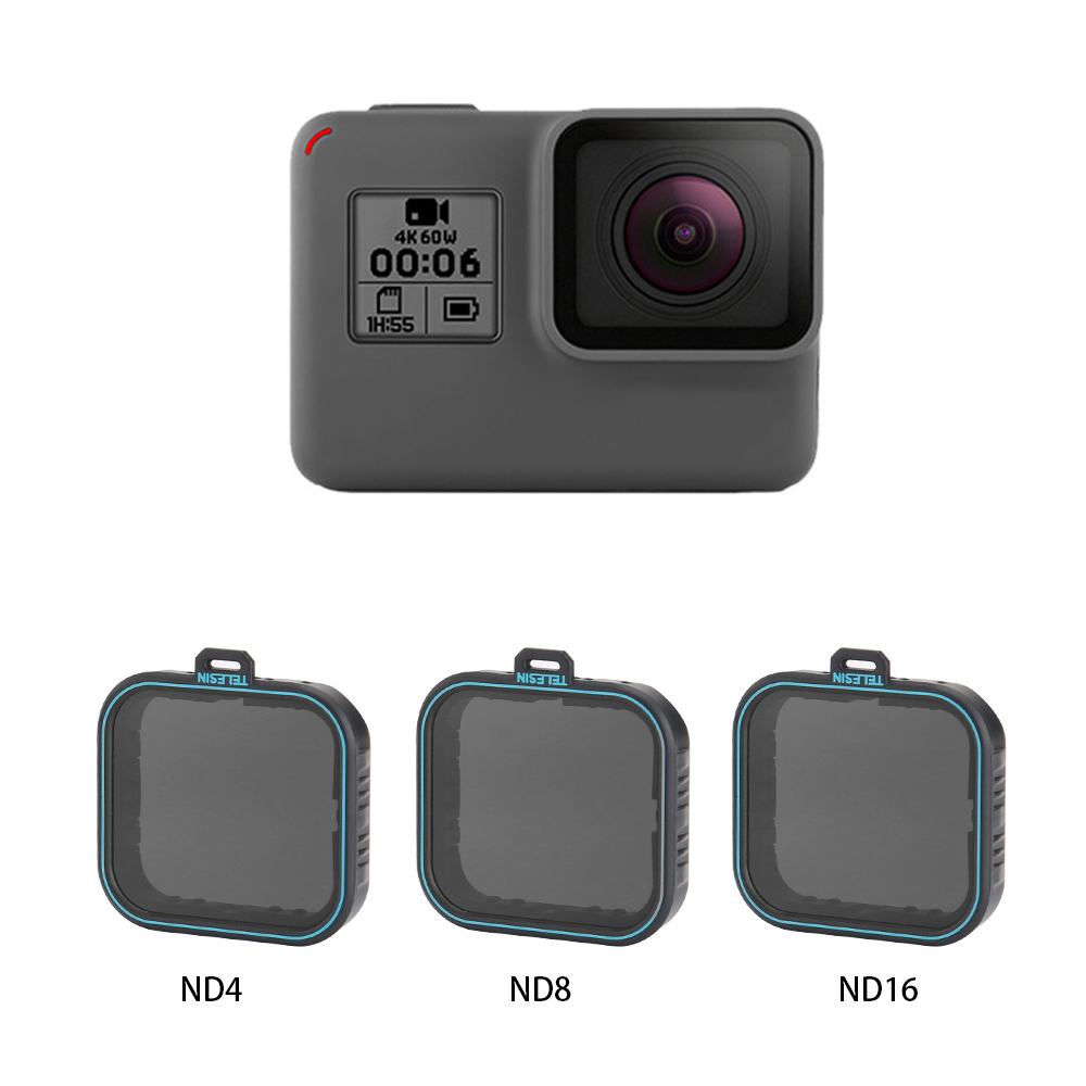 TELESIN 3 Pack ND Lens Protector Kit Set(ND4 8 16 ) Neutral Density Filter for Gopro Hero 5 Hero 6 Black AccessoreisTELESIN 3 Pack ND Lens Protector Kit Set(ND4 8 16 ) Neutral Density Filter for Gopro Hero 5 Hero 6 Black Accessoreis