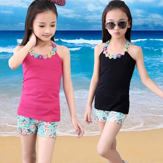 girls vest kids camisole cotton solid girls shirt sleeveless tank flower toddler tees T shirts top kids undershirt for 3-11YRS