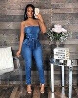 VAZN 2018 Hot Fashion Top Design Sexy Style Women Denim Jumpsuit Solid Strapless Slash Neck Bow Bodycon Romper M757