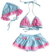 Nuovo Stile Dolce di Estate Delle Ragazze Swimwear Sveglio Blu Rosa Rappezzatura Del Merletto di Disegno Bikini Regolati Confortevoli Tre Pezzi Set Nuoto