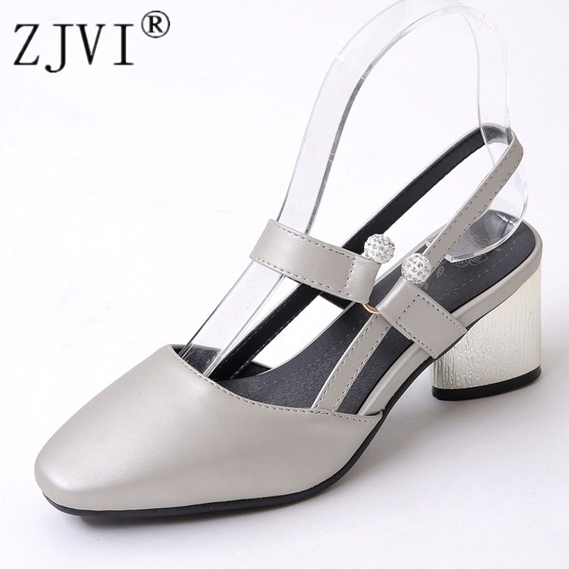 ZJVI woman fashion thick high heels sandals women summer square toe shoes 2018 womens female party sandal ladies plus size 4-12 new summer sandal high heel women thick bottom female sandals casual shoes fashion leather sandal comfortable sweet cute woman