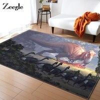 Zeegle Ancient Dinosaur Carpet For Living Room Kids Bedroom Floor Mat Kitchen Decor Rug Table Rectangular Floor Mat