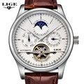 LIGE Mens Relógios dos homens Marca de Luxo Moda Casual homem de Couro Mecânico Automático relógio Do Esporte Relógio À Prova D' Água Relojes Hombre