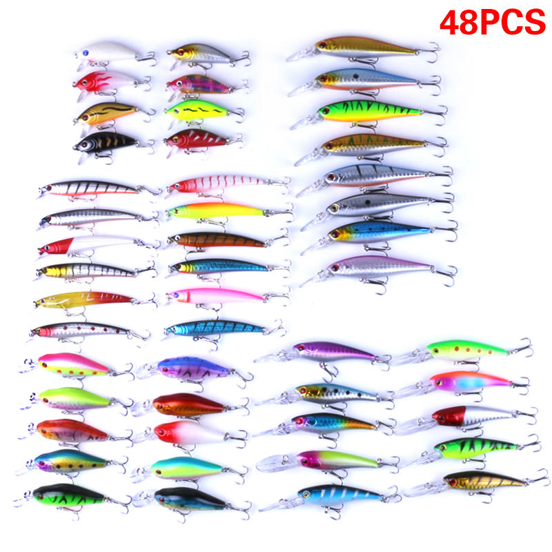JOSHNESE 48pcs lot Fishing Lures Mixed 5 Model Minnow Lure Artificial Crankbait Wobblers Fishing Tackle pesca+Free shipping! dagezi 5 pcs lot clear color fishing lures fishing bait wobbler 9cm 9g minnow bass lure crankbait tackle free shipping