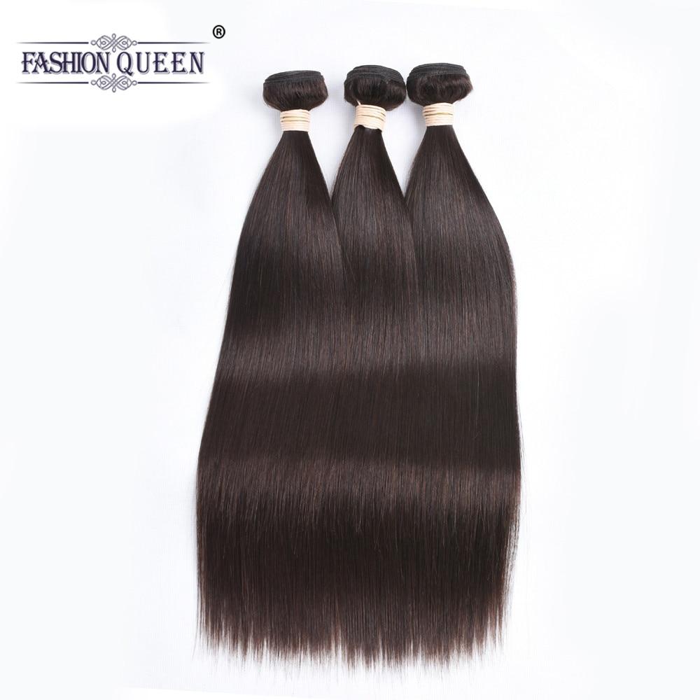 Fashion Queen Hair Brazilian Hair Bundles Dark Brown Straight Hair Bundles 8-28 Human Hair Extensions #2 NonRemy Hair Weaves