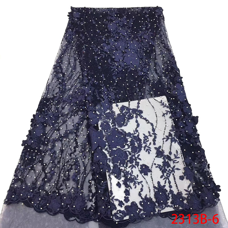Navy Blue French Lace Fabric Embroidered Mesh Nigerian Sequins Lace Fabrics Latest Bridal Wedding Dress With