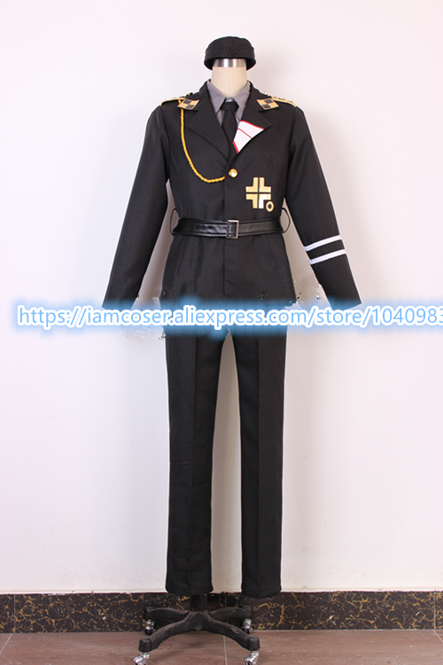 New APH Axis Powers Hetalia Prussia SS uniform cosplay costume 7/lot