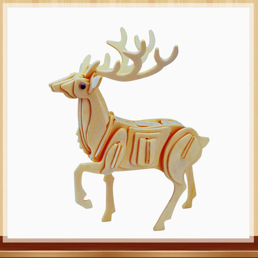 Toys For Children Of 3d Puzzle Diy Wooden Puzzle Sika Deer A Kids Toy Also Suitable Adult Game A Best Gift Of High Quality Wood