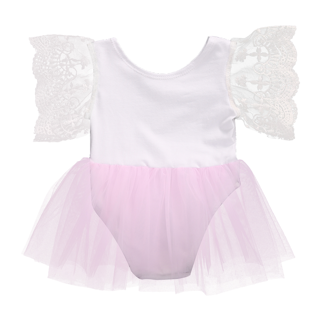 Helen115 Lovely Newborn Baby Girls Solid Color Lace Short Sleeve Ball Gown Bodysuit 0-3Years
