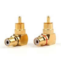 Sale 24 Pcs Brass RCA Right Angle Connector Plug Adapters Male To Female 90 Degree High