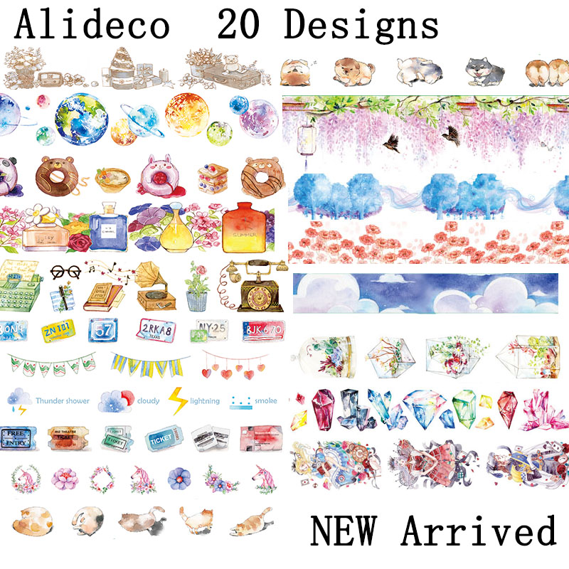 Alideco 1 Pcs DIY Paper Japanese Washi Masking Tapes Planet Alice Cat Dogs Decoration Adhesive Tapes Scrapbooking Stickers 5m