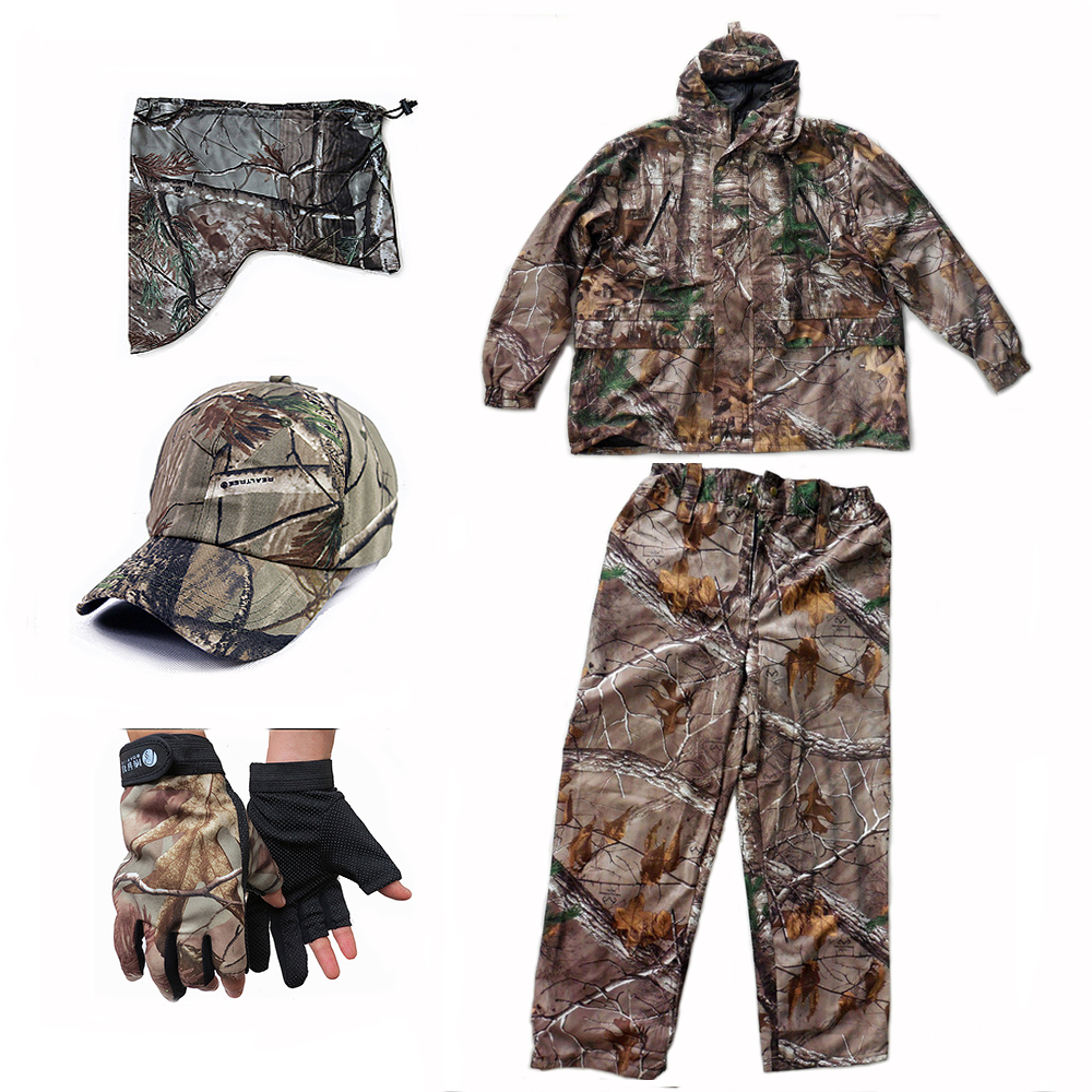 Bonic Camouflage Hunting Clothing Waterproof Breathable Ghillie Suit 5pcs/set Camo Jacket Trousers Pants Hat Face Mask Gloves morazora bind pu solid high heels shoes 5cm in summer fashion elegant party shoes sandals party large size 34 42