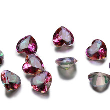 1-3ct Milticolor Loose Gemstone Heart Shape Rainbow Mystery Topaz 9x9MM Stones Wholesale Decoration Gifts 10 pcs/set