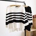 Mujeres Rayas O-cuello Suéteres y Pullovers Moda de Nueva Manga Larga Ocasional Flojo Suéter de Punto Más tamaño