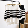 Women Stripes O-neck  Sweaters and Pullovers Fashion New Long Sleeve Casual Loose Sweater Knitted Plus size