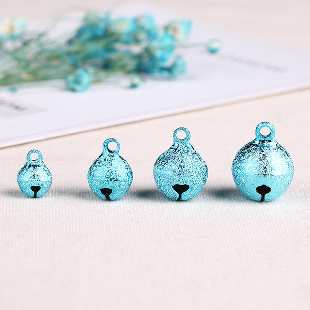 Color: Blue Ochoos Colorful Iron Loose Beads Charms DIY For Pendant 100 Pcs 68mm Christmas Jingle Bells Wholesale Jewelry making