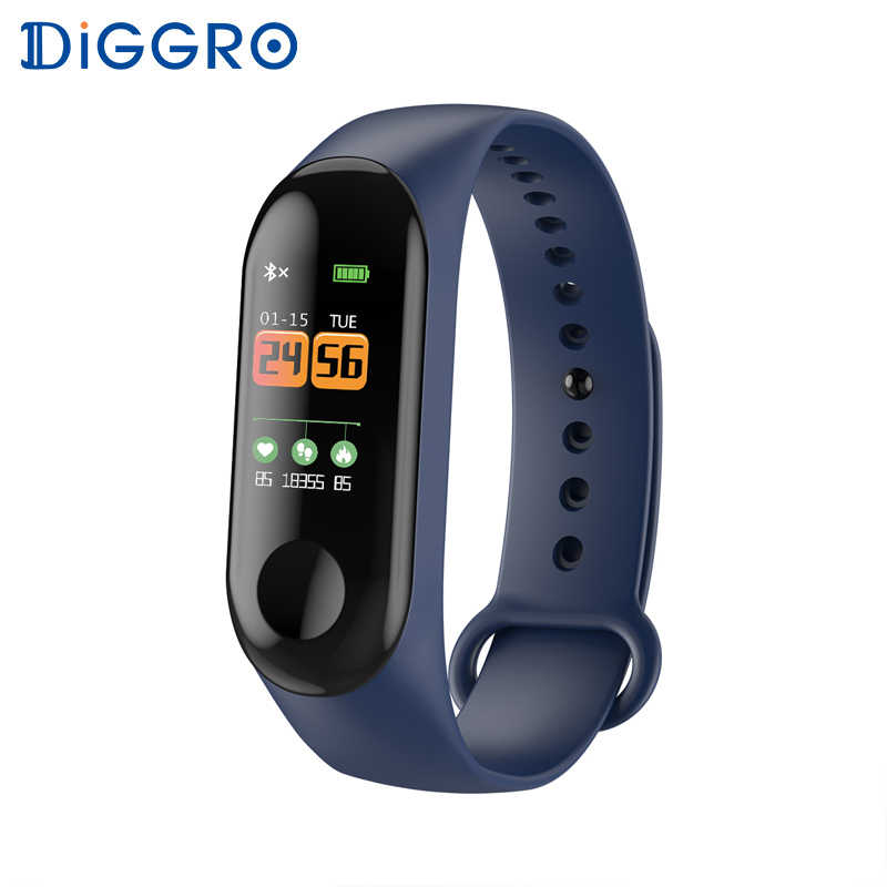 Diggro W3 Fitness Bracelet Color Screen Smart Watch  Blood Pressure Waterproof Sport Heart Rate Monitor SmartBand For Men Women