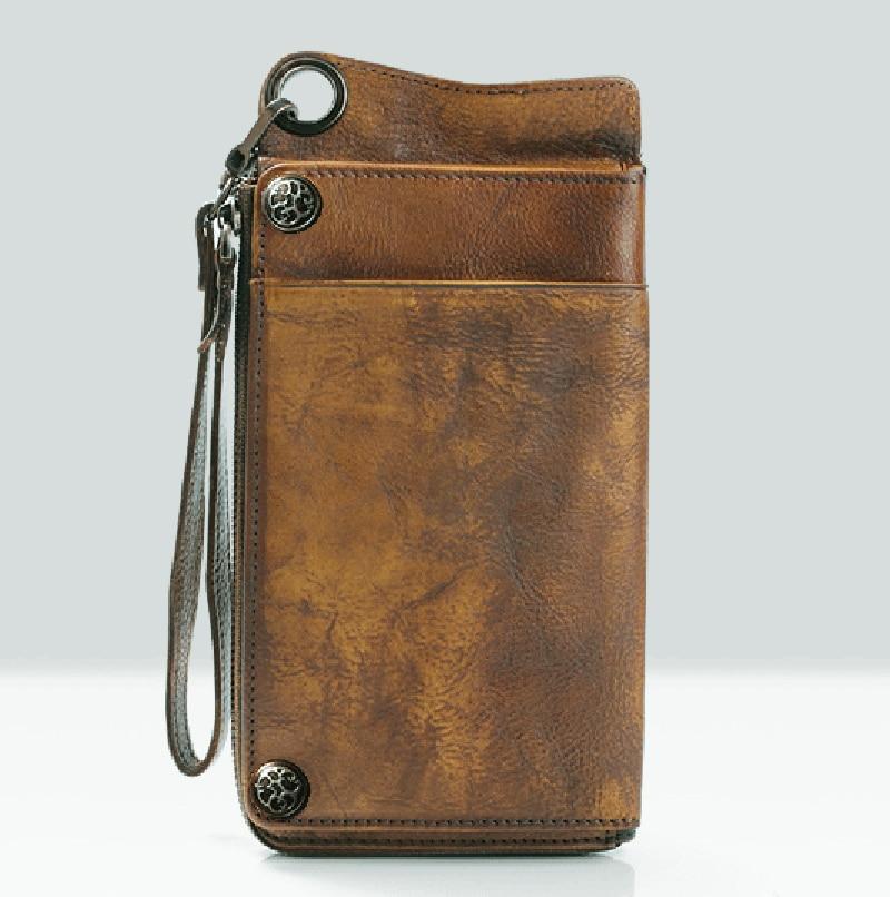 Moda w stylu Vintage prawdziwej skóry mężczyzn portfel długi portfel ze skóry mężczyzn torebka Clutch Bag worek pieniędzy Portfel męski portmonetka posiadacz karty w Portfele od Bagaże i torby na  Grupa 1