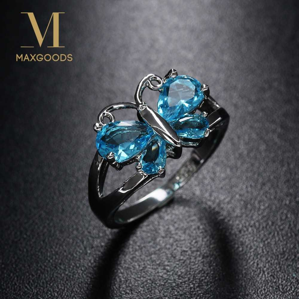 1 Pcs  Blue Crystal  Butterfly Shaped Rings Silver Color Women Fashion Ring  Size 6 7 8 9 Jewelry wholesale