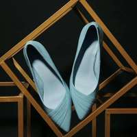 2017 Krazing Pot Shoes Women Fashion Genuine Leather Pointed Toe Lazy Style High Heels Pink Blue