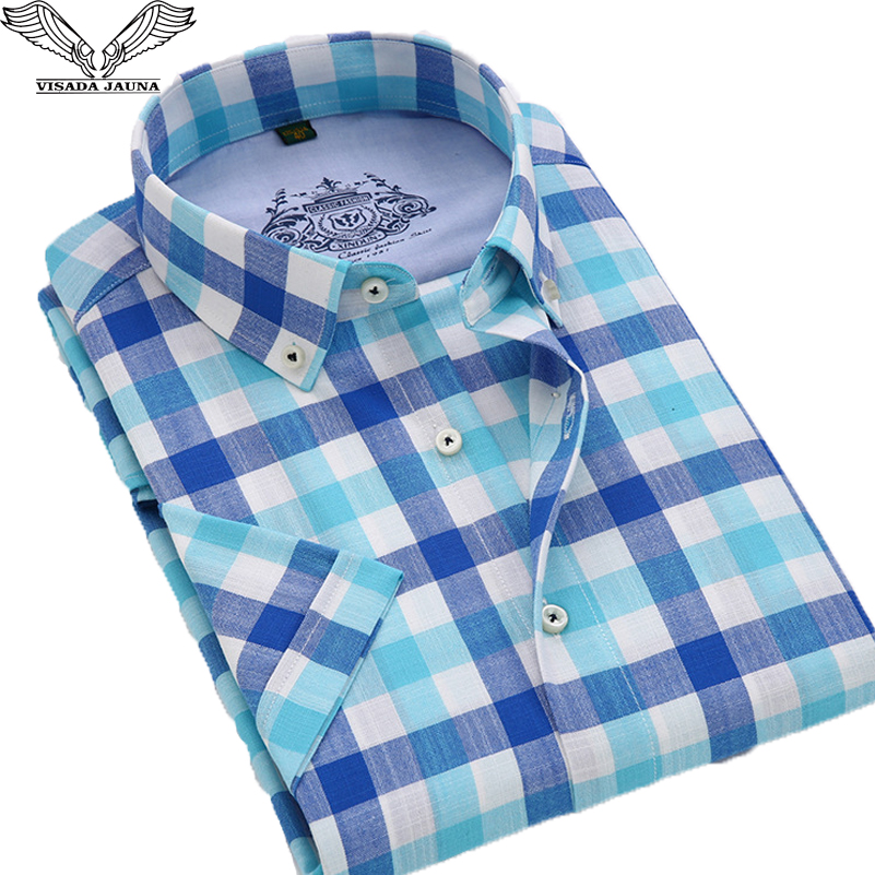 VISADA JAUNA férfi ing plaid rövid ujjú alkalmi márka ruházat üzleti ruha vékony Camisa szociális masculina plusz méret 4XL N564