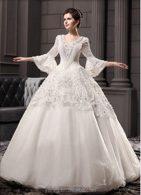 9c33b31a823 Wholesale Luxury From Dubai Long Sleeve Saudi Arabian Princess Style Custom  Made China Picture Of Muslim Bridal Wedding Dresses