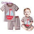 Fashion Infant Baby Boys Sets Striped T-shirt Tops+Red Pants 2pcs Outfits Toddlers Suits Summer Casual Baby BoyClothes Set 0-2Y