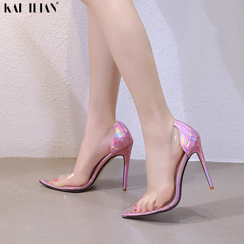 Summer Shoes Women High Heels 2019 Sandals Transparent PVC Pointed Toe Pumps Bling Pink Sexy Thin Heels Party Ladies Shoe Female