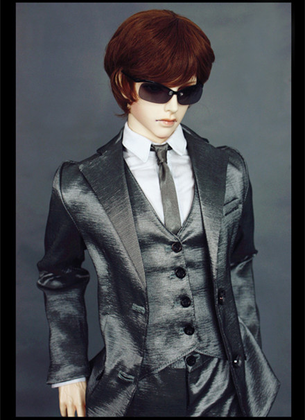 Silver gray Modern President Suit for BJD Doll 1/4 MSD 1/3 SD10 SD13 SD17 Uncle IP SOOM Doll Clothes LF59 new handsome fashion stripe black gray coat pants uncle 1 3 1 4 boy sd10 girl bjd doll sd msd clothes